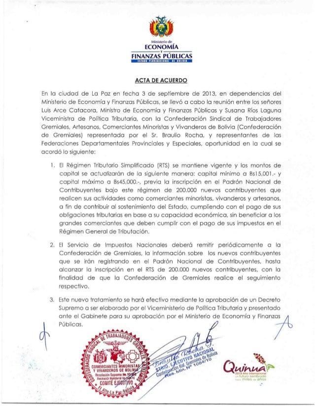 Acuerdo entre Gobierno y Gremiales