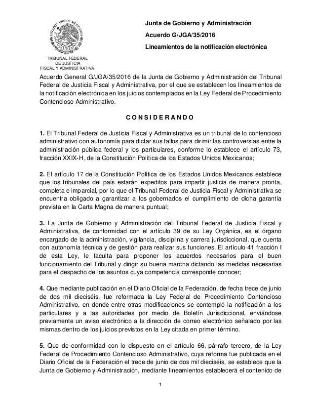 TRIBUNAL FEDERAL DE JUSTICIA FISCAL Y ADMINISTRATIVA Junta de Gobierno y Administración Acuerdo G/JGA/35/2016 Lineamientos...