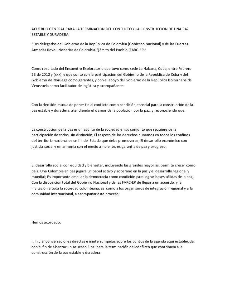 """ACUERDO GENERAL PARA LA TERMINACION DEL CONFLICTO Y LA CONSTRUCCION DE UNA PAZESTABLE Y DURADERA:""""Los delegados del Gobier..."""