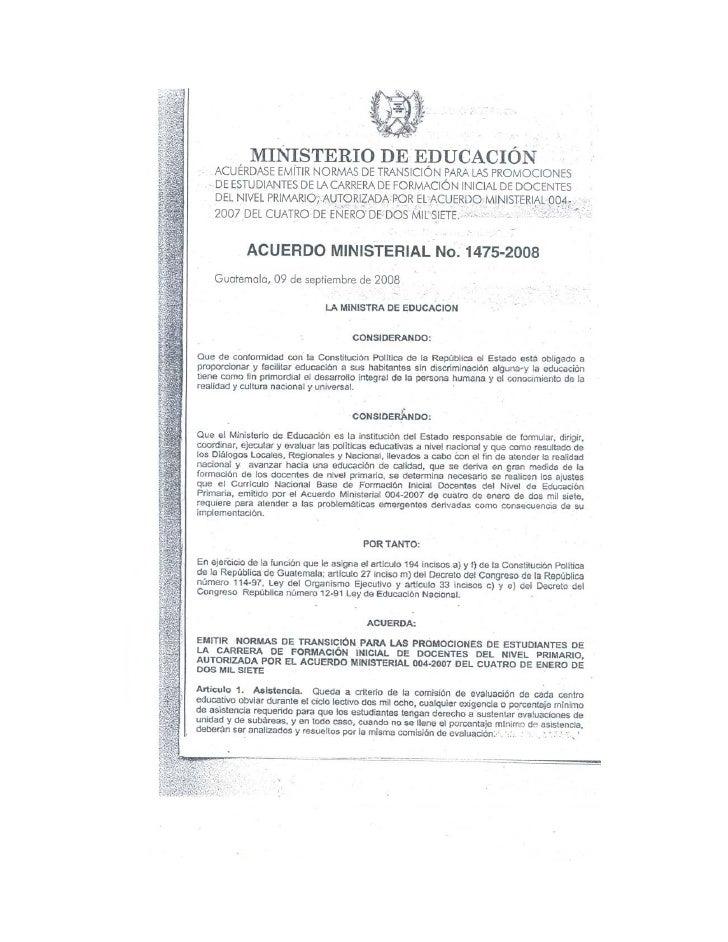 Acuerdo Ministerial 1475 2008