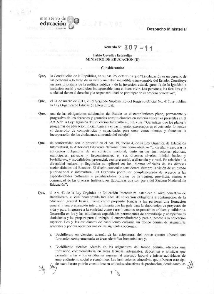 Acuerdo ministerial 307-11