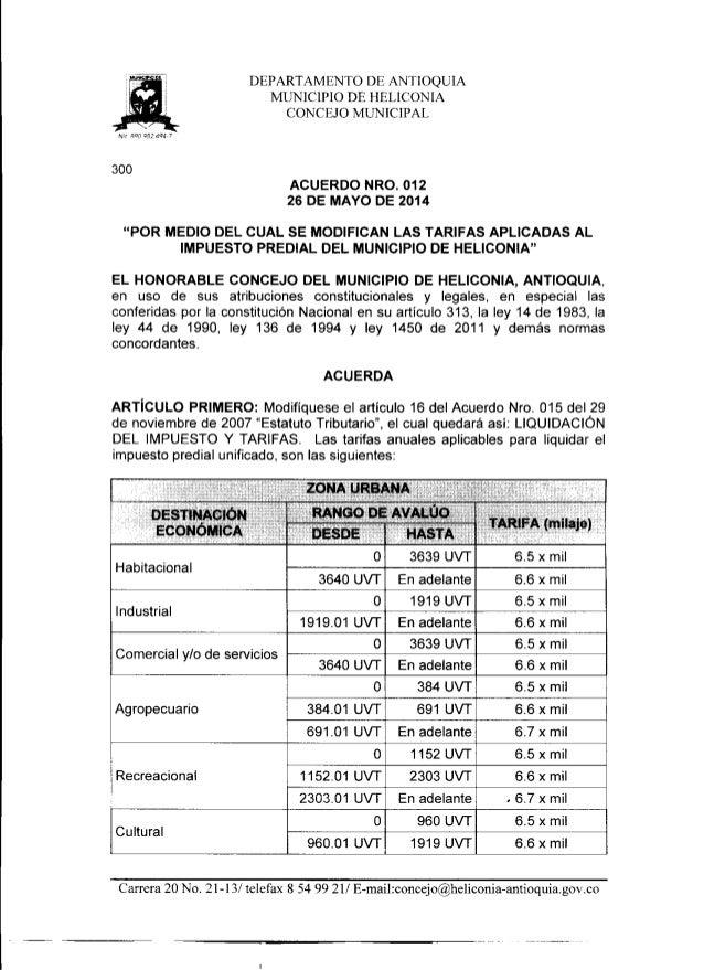 Acuerdo municipal nro. 012 del 26 de mayo de 2014