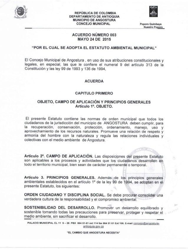 Acuerdo número 003 de 2015