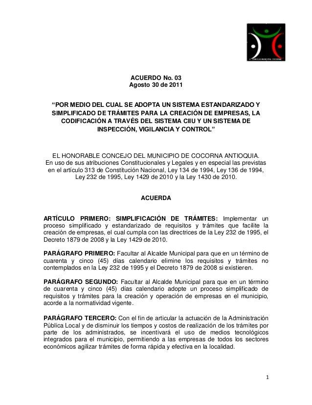 """ACUERDO No. 03                                Agosto 30 de 2011   """"POR MEDIO DEL CUAL SE ADOPTA UN SISTEMA ESTANDARIZADO Y..."""