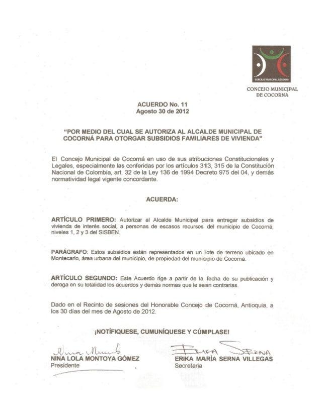 Acuerdo no. 11 de agosto 30 de 2012, facultades alcalde para otorgar subsidios de vivienda