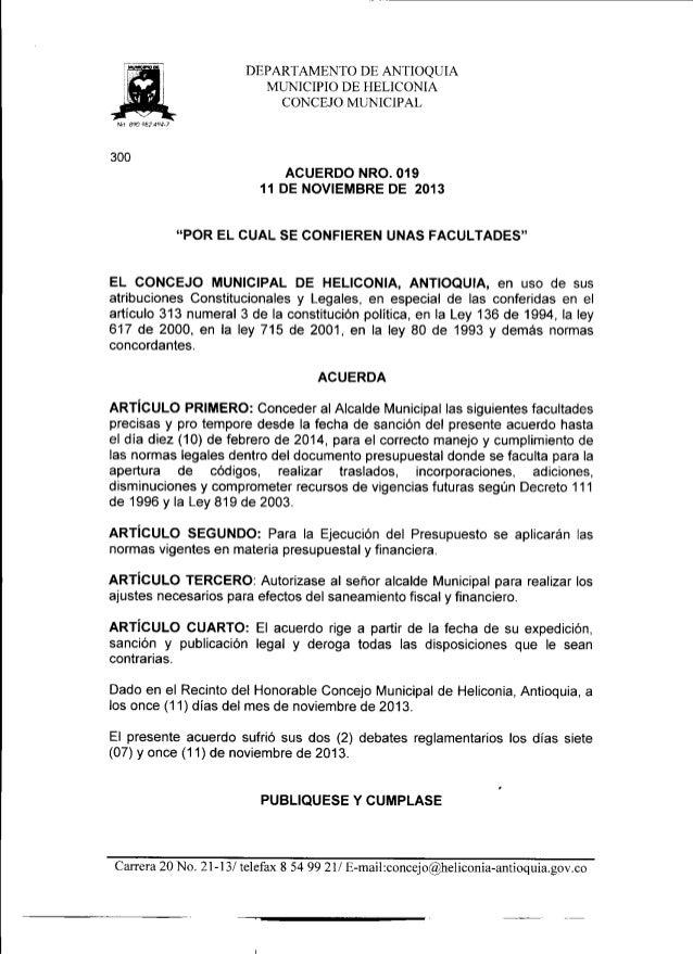 Acuerdo nro. 019 del 11 de noviembre de 2013