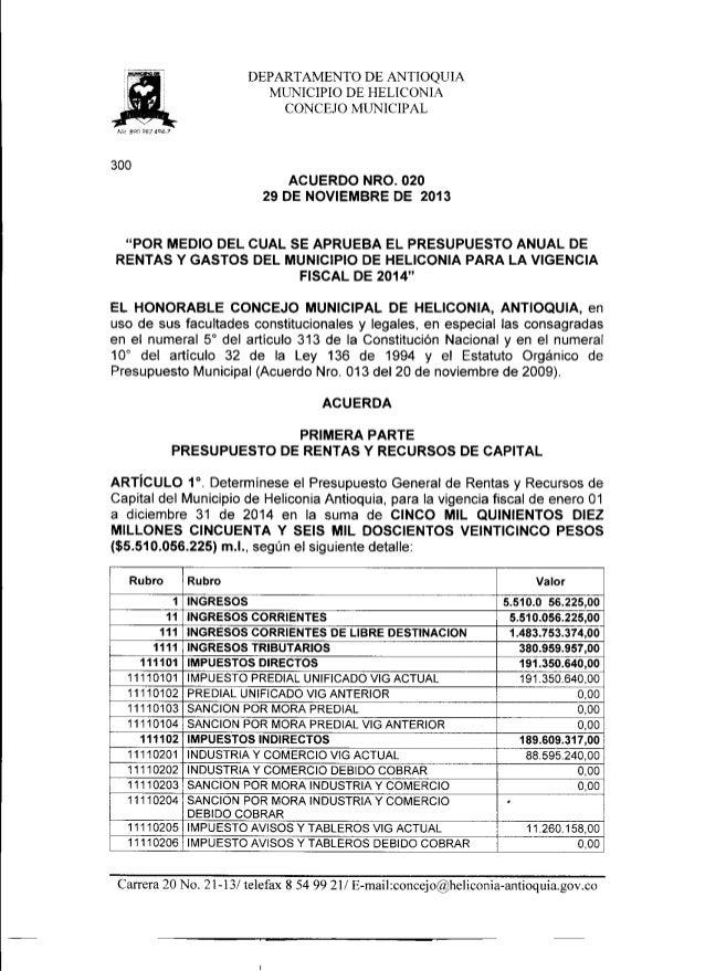 Acuerdo nro. 020 del 29 de noviembre de 2013