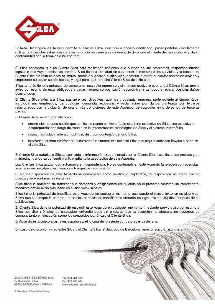 Acuerdo por pedidos online   silca key system s.a Slide 2