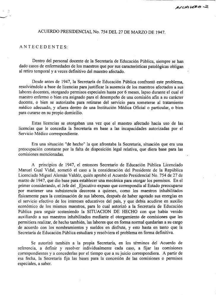 Acuerdo presidencial número 754 del 27 de marzo de 1947
