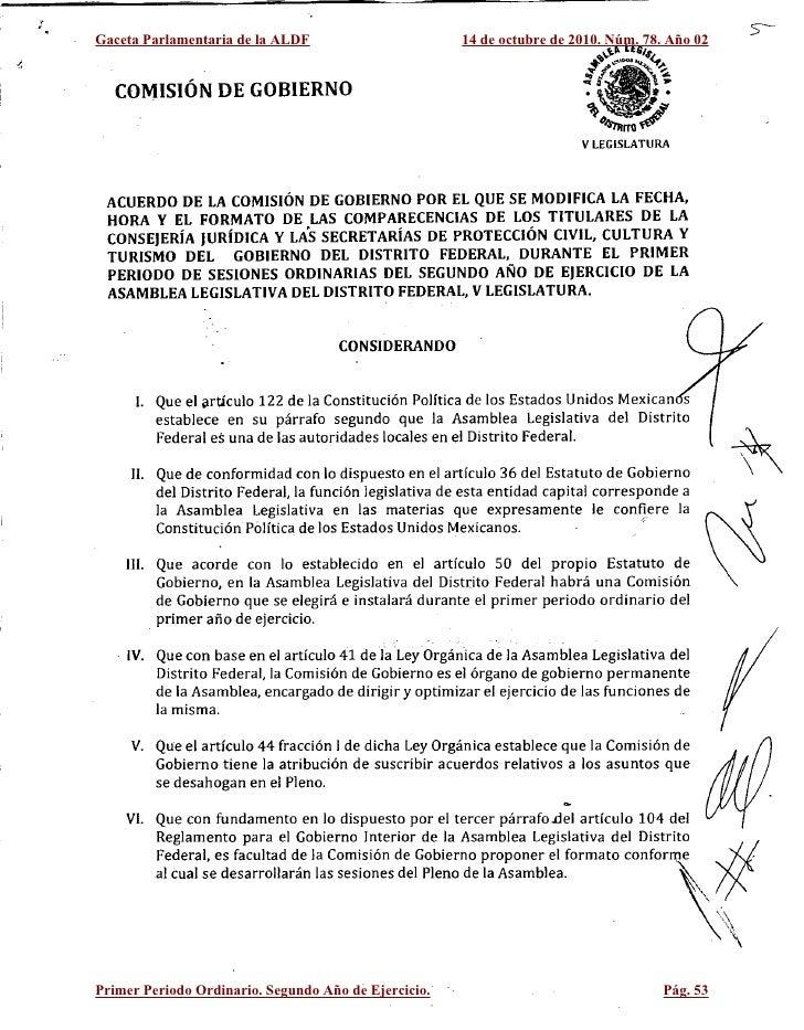 , ,     Gaceta Parlamentaria de la ALDF                         14 de octubre de 2010. Núm. 78. Año 02          COMISiÓN D...