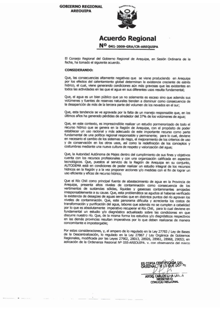 GOBIERNO REGIONAL     AREOUIPA                         Acuerdo Regional                         N o 041-2009-GRA/CR-AREQUI...