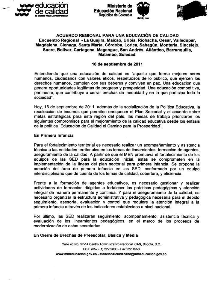 Acuerdo regional para educacion de calidad   16-09-11