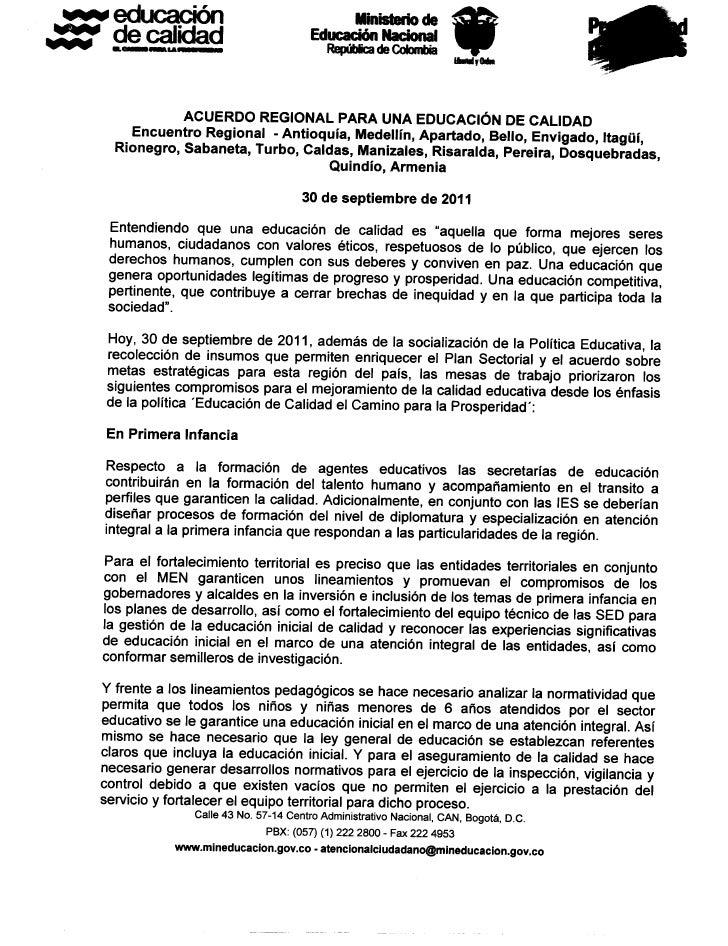 Acuerdo regional para educacion de calidad   30-09-2011