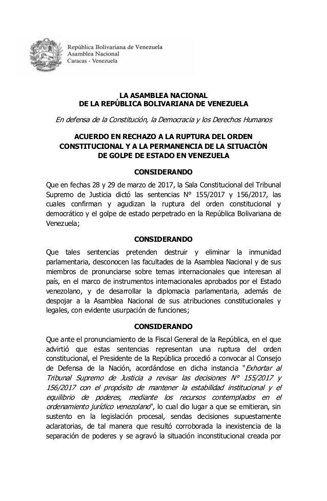 LA ASAMBLEA NACIONAL DE LA REPÚBLICA BOLIVARIANA DE VENEZUELA En defensa de la Constitución, la Democracia y los Derechos ...