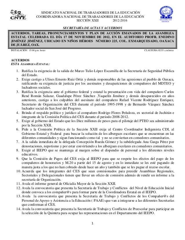 SINDICATO NACIONAL DE TRABAJADORES DE LA EDUCACIÓN                     COORDINADORA NACIONAL DE TRABAJADORES DE LA EDUCACI...