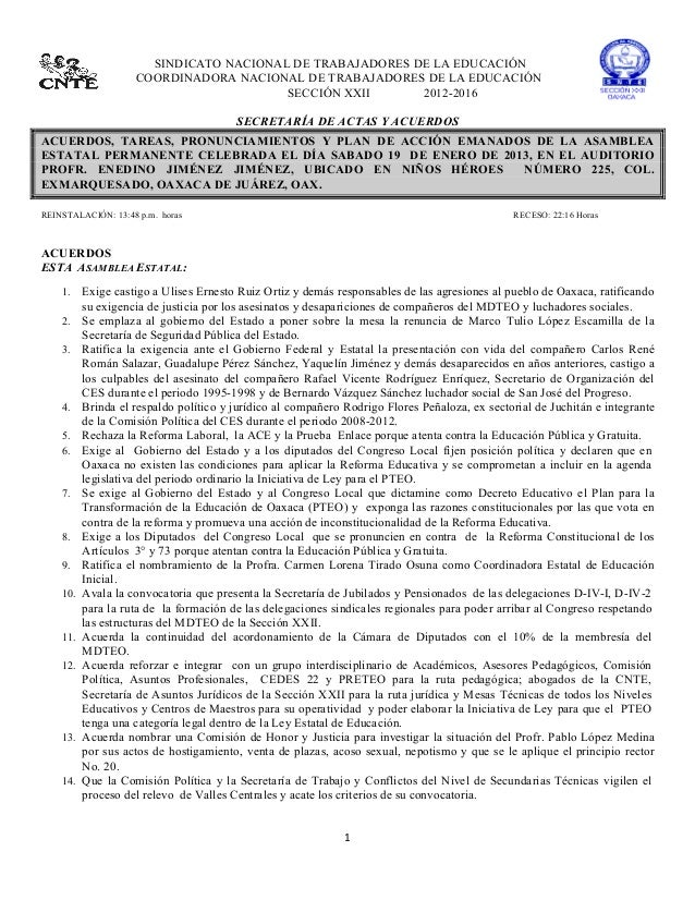 SINDICATO NACIONAL DE TRABAJADORES DE LA EDUCACIÓN                       COORDINADORA NACIONAL D...