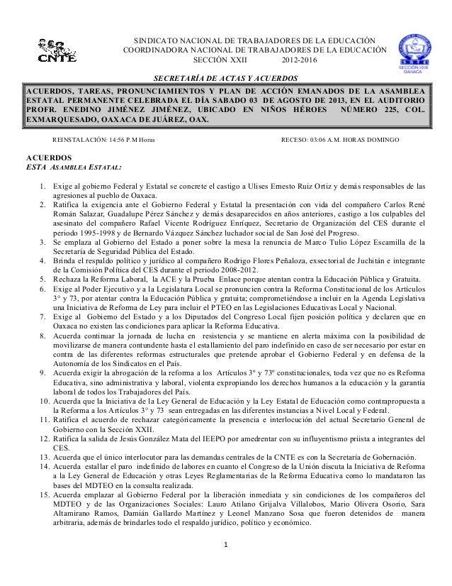1      SINDICATO NACIONAL DE TRABAJADORES DE LA EDUCACIÓN COORDINADORA NACIONAL DE TRABAJADORES DE LA EDUCACIÓN SECC...