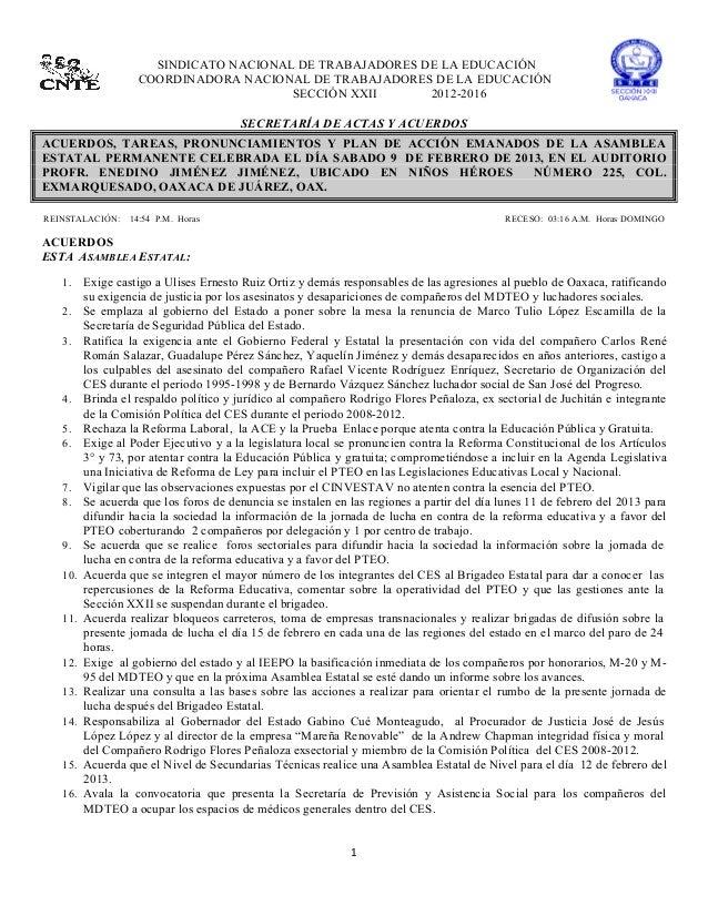 SINDICATO NACIONAL DE TRABAJADORES DE LA EDUCACIÓN                        COORDINADORA NACIONAL...