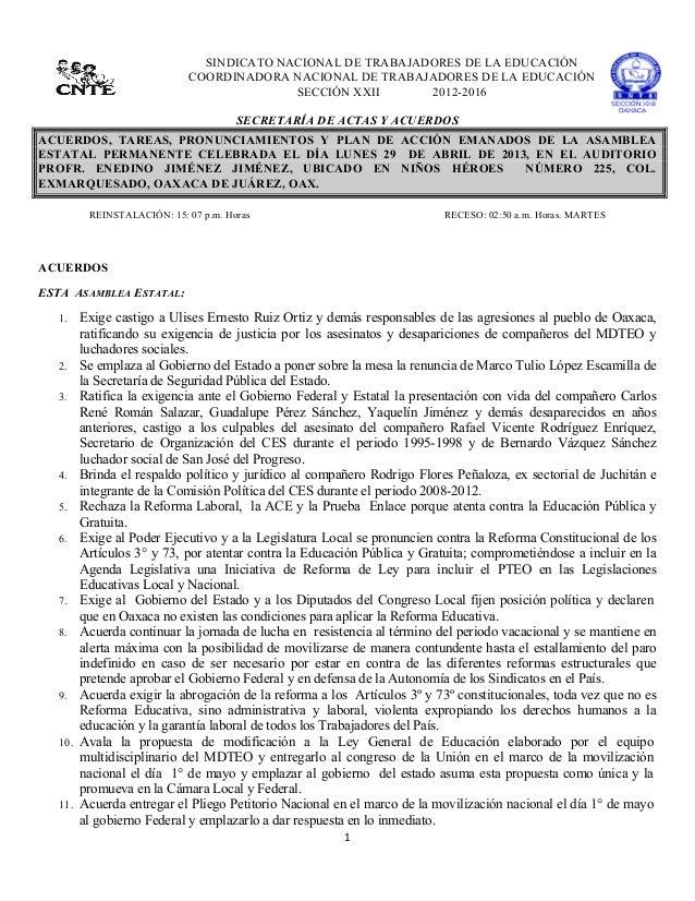 1  SINDICATO NACIONAL DE TRABAJADORES DE LA EDUCACIÓNCOORDINADORA NACIONAL DE TRABAJADORES DE LA EDUCACIÓNSECCIÓN XXI...
