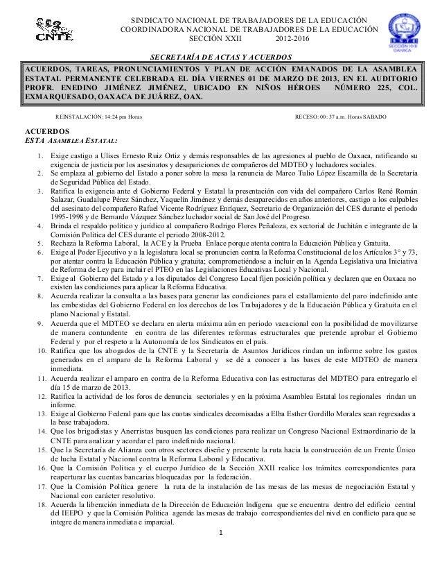 SINDICATO NACIONAL DE TRABAJADORES DE LA EDUCACIÓN                                    COORDINADORA NACIONAL DE TRABAJADORE...