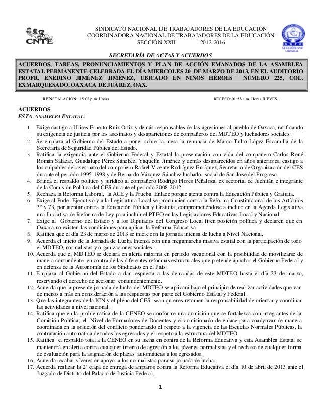SINDICATO NACIONAL DE TRABAJADORES DE LA EDUCACIÓN                               COORDINADORA NACIONAL DE TRABAJADORES DE ...