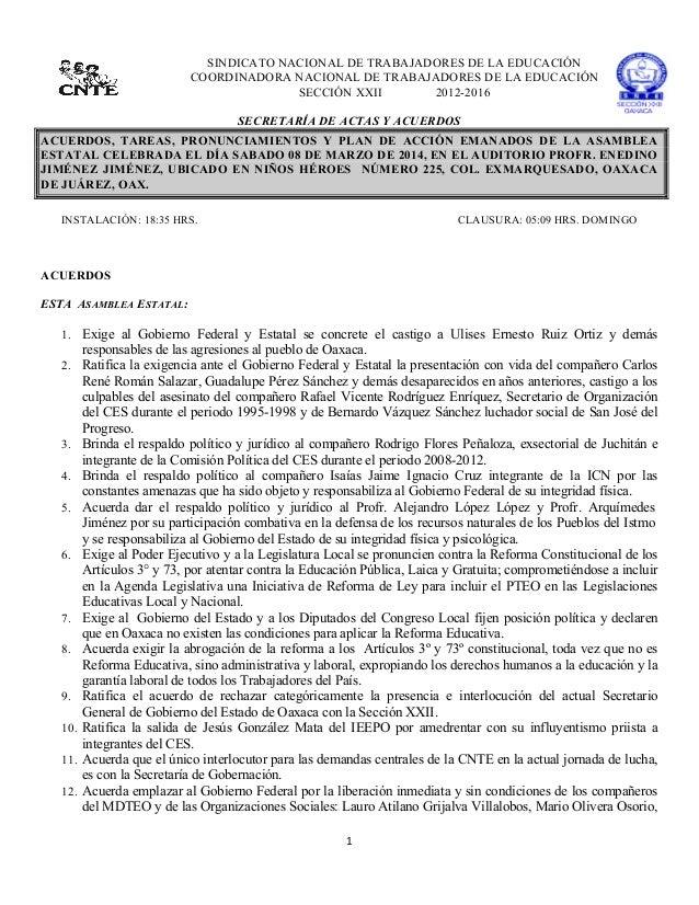 SINDICATO NACIONAL DE TRABAJADORES DE LA EDUCACIÓN COORDINADORA NACIONAL DE TRABAJADORES DE LA EDUCACIÓN SECCIÓN XXII 20...