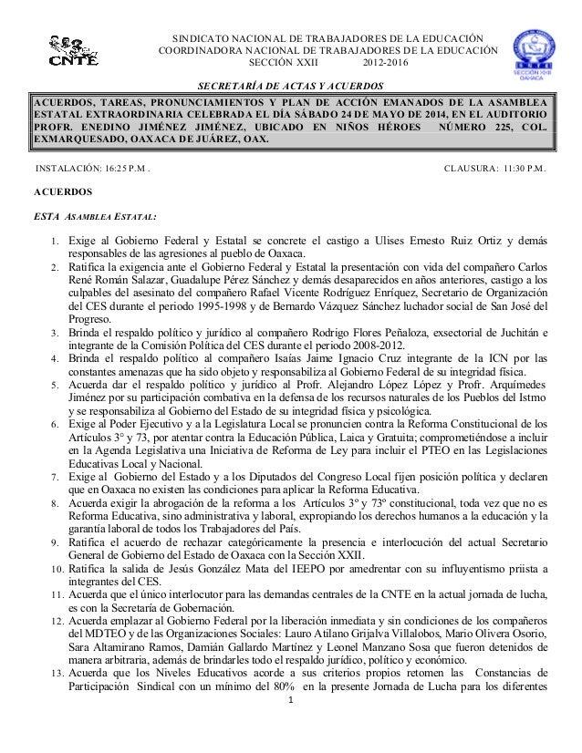 1      SINDICATO NACIONAL DE TRABAJADORES DE LA EDUCACIÓN COORDINADORA NACIONAL DE TRABAJADORES DE LA EDUCACIÓN SECCIÓ...