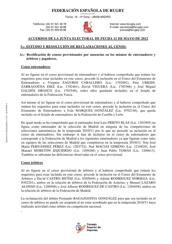 FEDERACIÓN ESPAÑOLA DE RUGBY                                                                                      Ferraz, ...