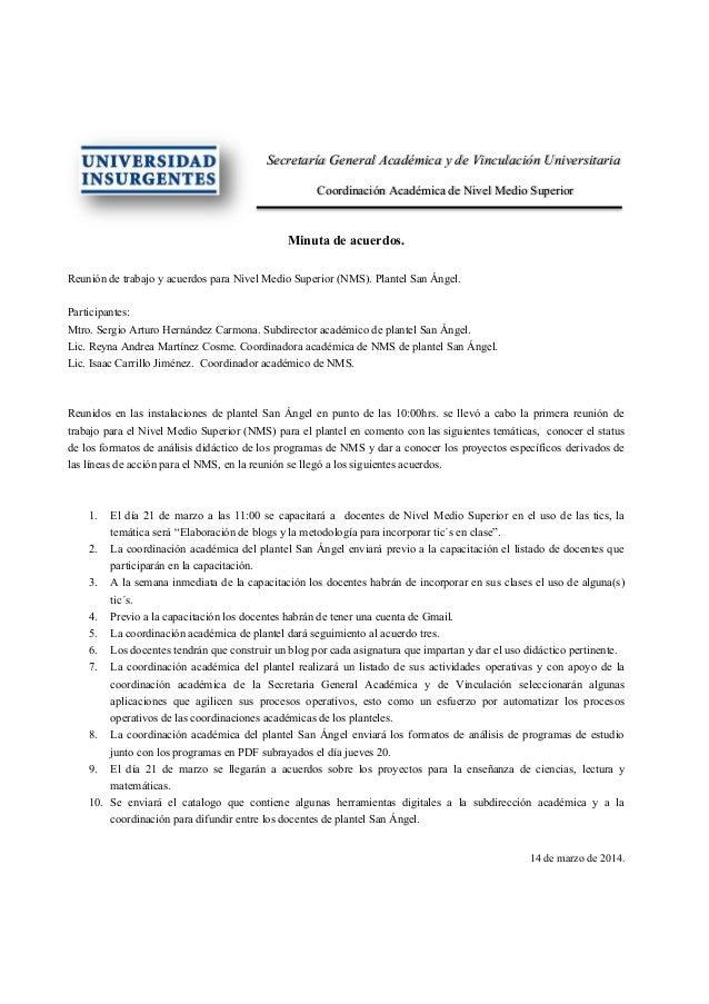 Secretaría General Académica y de Vinculación Universitaria Coordinación Académica de Nivel Medio Superior Minuta de acuer...