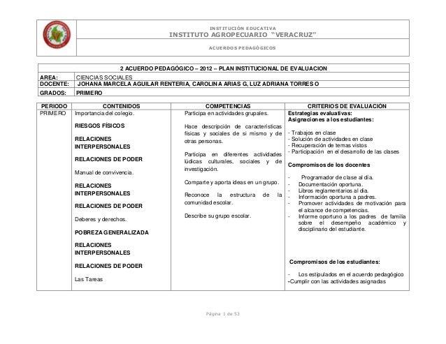 """INSTITUCIÓN EDUCATIVAINSTITUTO AGROPECUARIO """"VERACRUZ""""ACUERDOS PEDAGÓGICOSPágina 1 de 532 ACUERDO PEDAGÓGICO – 2012 – PLAN..."""
