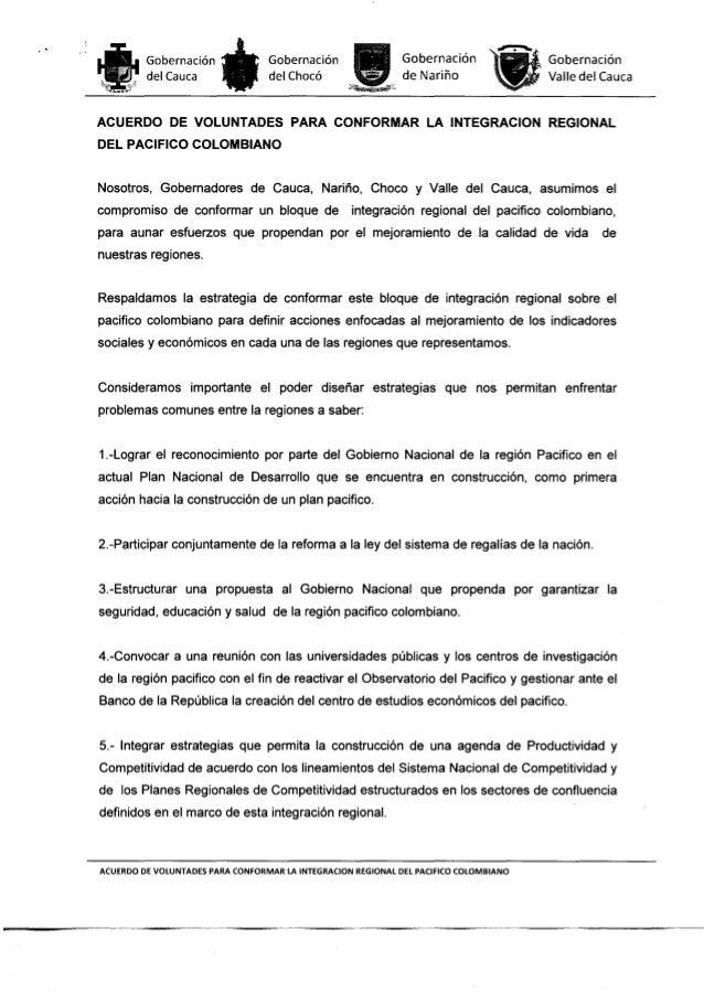 Acuerdo de Voluntades para la Integracion Regional del Pacifico Colombiano