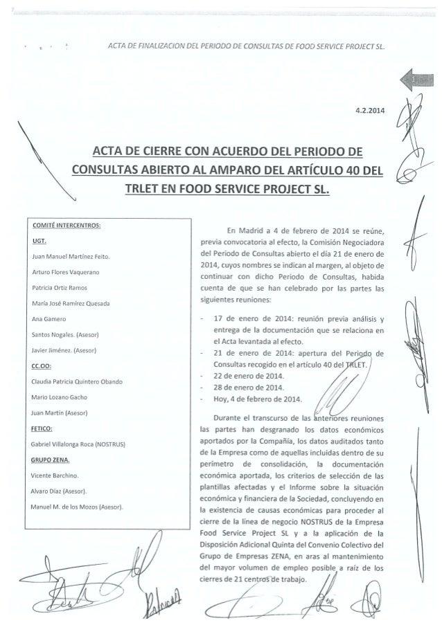 Acuerdo Cierre Restaurantes Nostrus