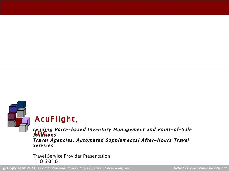 Leading Voice-based Inventory Management and Point-of-Sale Solutions Travel Agencies. Automated Supplemental After-Hours T...