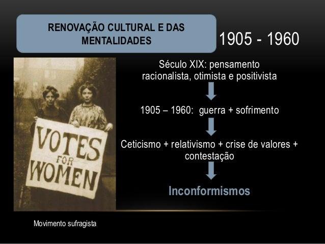 RENOVAÇÃO CULTURAL E DAS         MENTALIDADES                           1905 - 1960                                Século ...