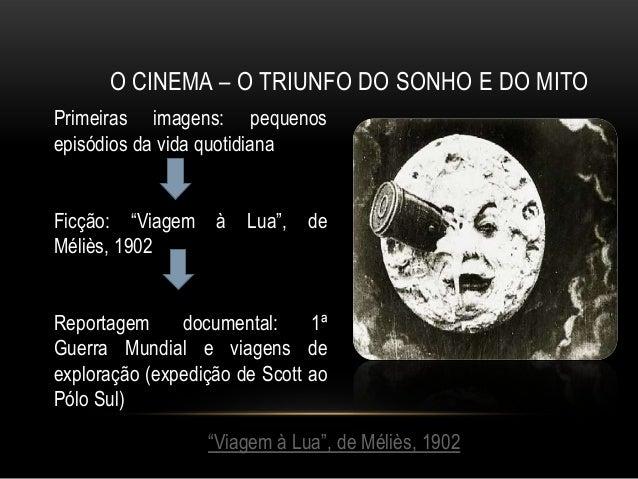 """O CINEMA – O TRIUNFO DO SONHO E DO MITOPrimeiras imagens: pequenosepisódios da vida quotidianaFicção: """"Viagem à Lua"""", deMé..."""