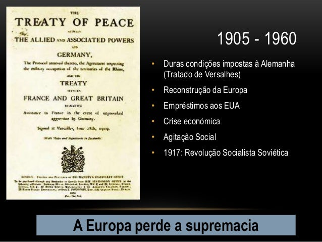 1905 - 1960           • Duras condições impostas à Alemanha             (Tratado de Versalhes)           • Reconstrução da...