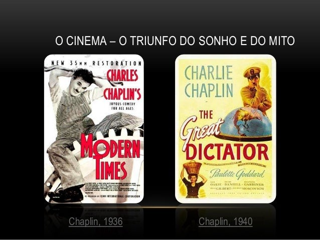 O CINEMA – O TRIUNFO DO SONHO E DO MITO  Chaplin, 1936        Chaplin, 1940
