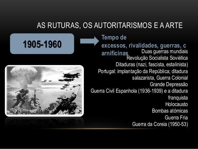 AS RUTURAS, OS AUTORITARISMOS E A ARTE                      Tempo de1905-1960             excessos, rivalidades, guerras, ...