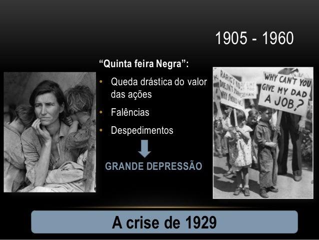 """1905 - 1960""""Quinta feira Negra"""":• Queda drástica do valor  das ações• Falências• Despedimentos GRANDE DEPRESSÃO  A crise d..."""