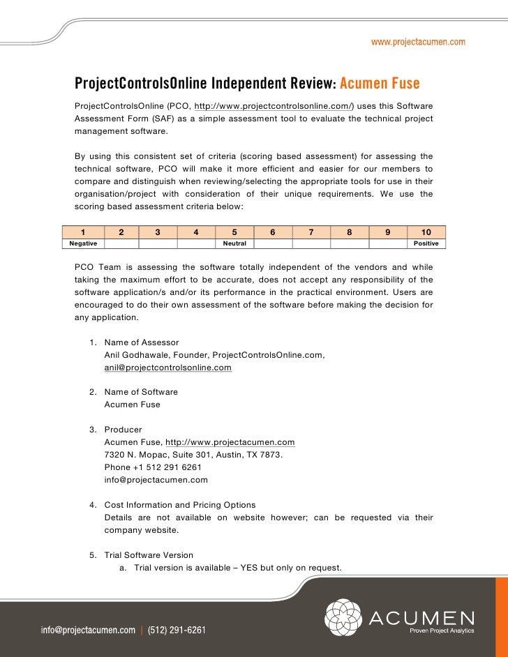 ProjectControlsOnline Independent Review: Acumen Fuse ProjectControlsOnline (PCO, http://www.projectcontrolsonline.com/) u...