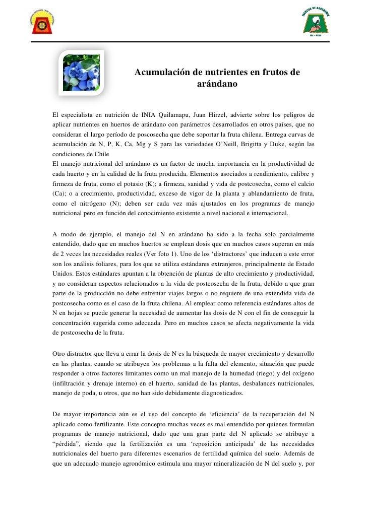 Acumulación de nutrientes en frutos de                                           arándanoEl especialista en nutrición de I...