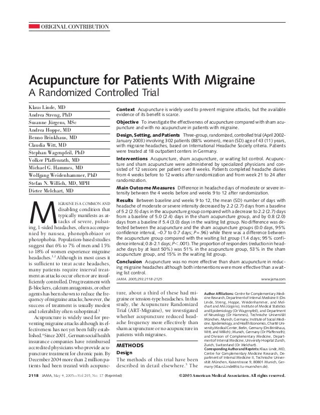 ORIGINAL CONTRIBUTION Acupuncture for Patients With Migraine A Randomized Controlled Trial Klaus Linde, MD Andrea Streng, ...
