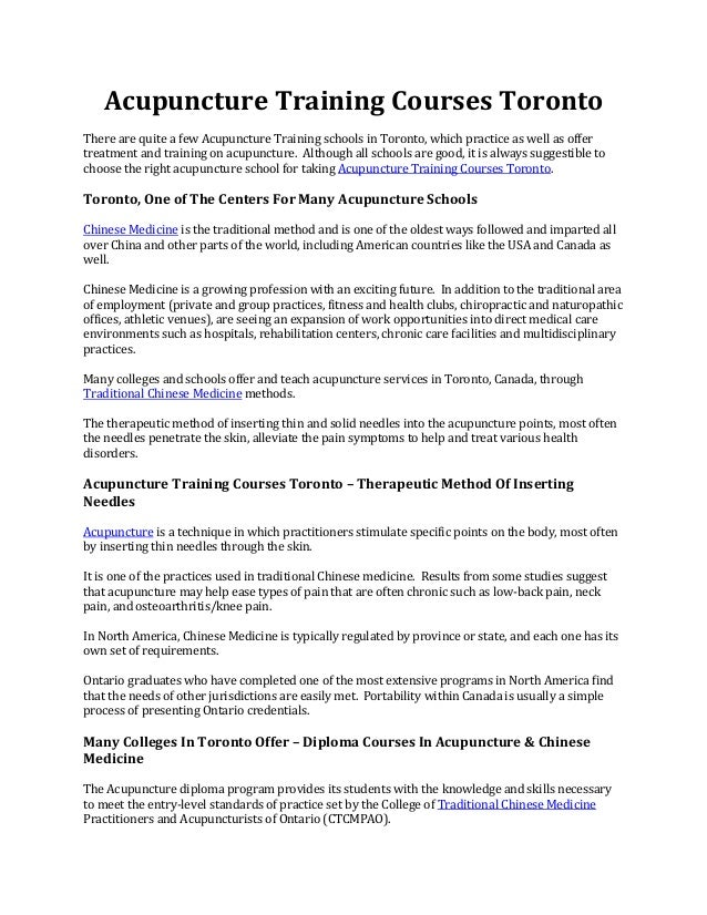 Acupuncture Jobs Toronto - Acupuncture Acupressure Points