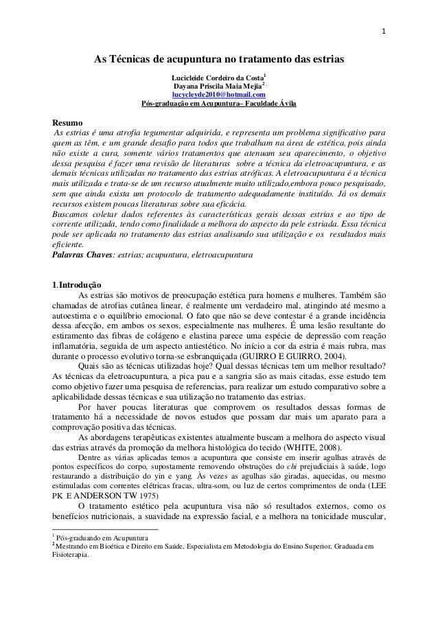 1             As Técnicas de acupuntura no tratamento das estrias                                    Lucicleide Cordeiro d...