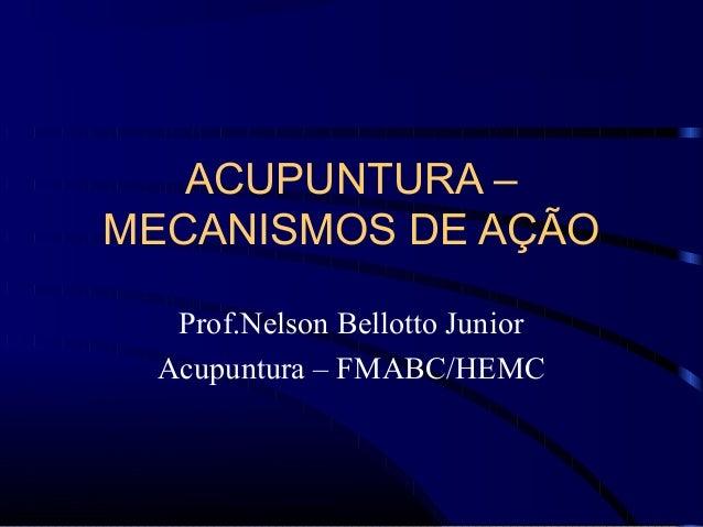 ACUPUNTURA – MECANISMOS DE AÇÃO Prof.Nelson Bellotto Junior Acupuntura – FMABC/HEMC