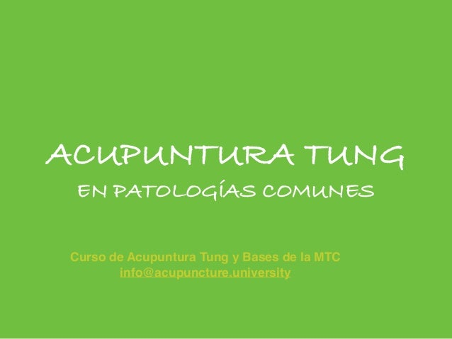ACUPUNTURA TUNG EN PATOLOGÍAS COMUNES Curso de Acupuntura Tung y Bases de la MTC info@acupuncture.university