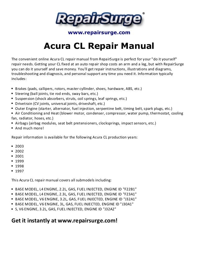 acura cl repair manual 1997 2003 rh slideshare net 2003 acura tl repair manual 2003 acura tl repair manual
