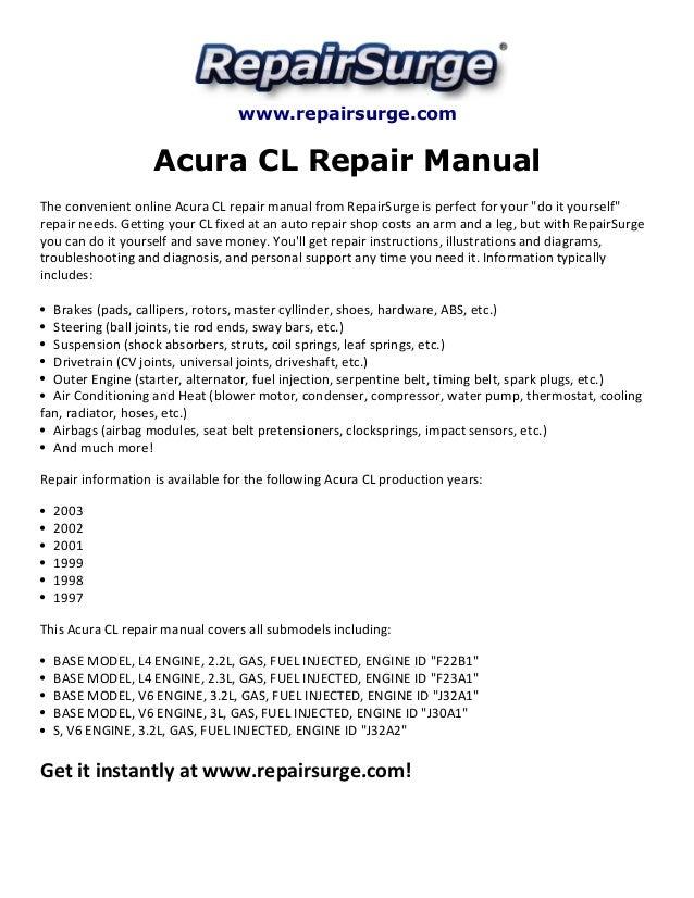 acura cl repair manual 1997 2003 rh slideshare net acura repair manuals acura el 2001 repair manual
