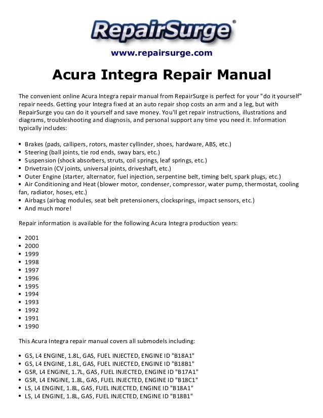 acura integra repair manual 1990 2001 rh slideshare net Tractor Shop Manuals integra service manual pdf