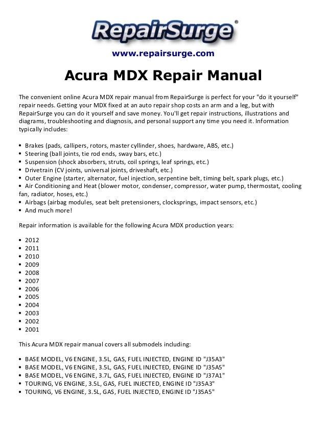 2010 acura mdx repair manual